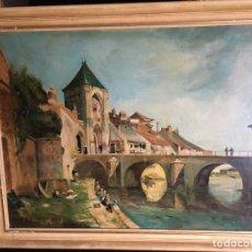 Arte: VIEUX VILLAGE DE FRANCE OLEO SOBRE TABLA H.J. MAURICE,. Lote 120636687