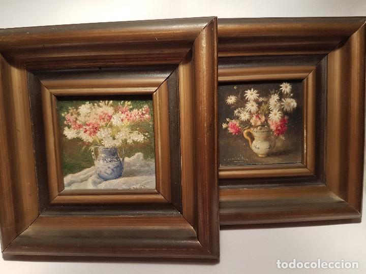 ADELARDO PARRILLA PAREJA DE ÓLEOS SOBRE TABLA BODEGONES PINTOR ALICANTINO FIRMADOS A.PARRILLA (Arte - Pintura - Pintura al Óleo Moderna siglo XIX)
