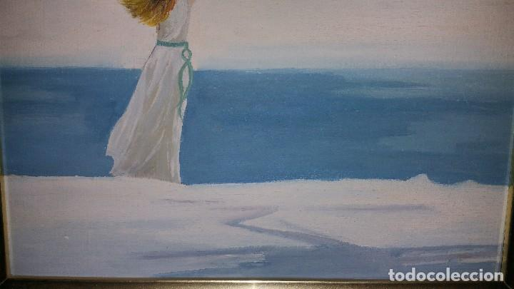 Pintura Al óleo Sobre Madera Mujer Mirando Mar Vendido En Subasta 120795783