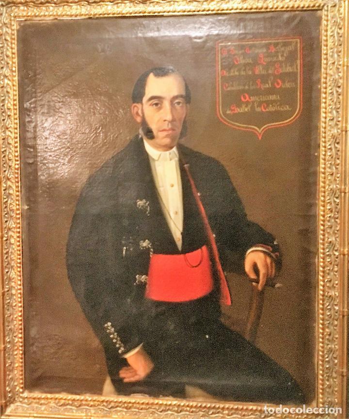 RETRATO DEL ALCALDE DE LA VILLA DEL SALOBRAL (ALBACETE S XIX) (Arte - Pintura - Pintura al Óleo Moderna siglo XIX)