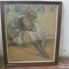 Arte: TÉCNICA MIXTA - RAMÓN RIBAS RIUS - DESCANSO DE LA BAILARINA - SERIE LICEO. Lote 120905223