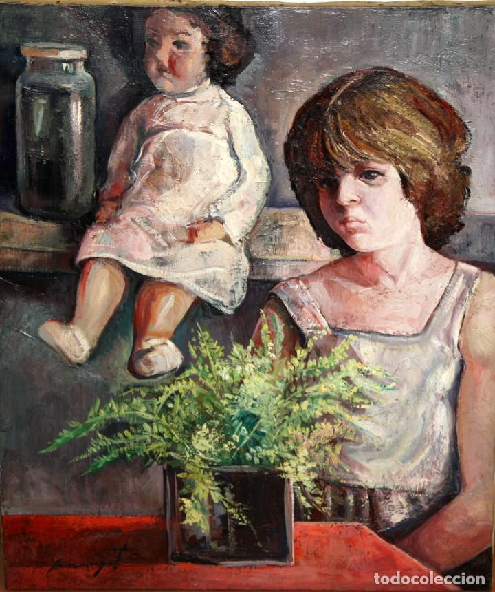 ANTONIO POVEDANO MARRUGAT (CÓRDOBA, 1955) OLEO SOBRE TELA. INTERIOR CON FIGURA Y MUÑECA (Arte - Pintura - Pintura al Óleo Contemporánea )