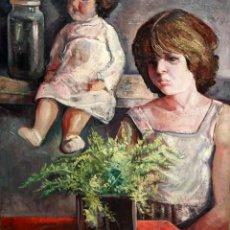 Arte: ANTONIO POVEDANO MARRUGAT (CÓRDOBA, 1955) OLEO SOBRE TELA. INTERIOR CON FIGURA Y MUÑECA. Lote 120913043