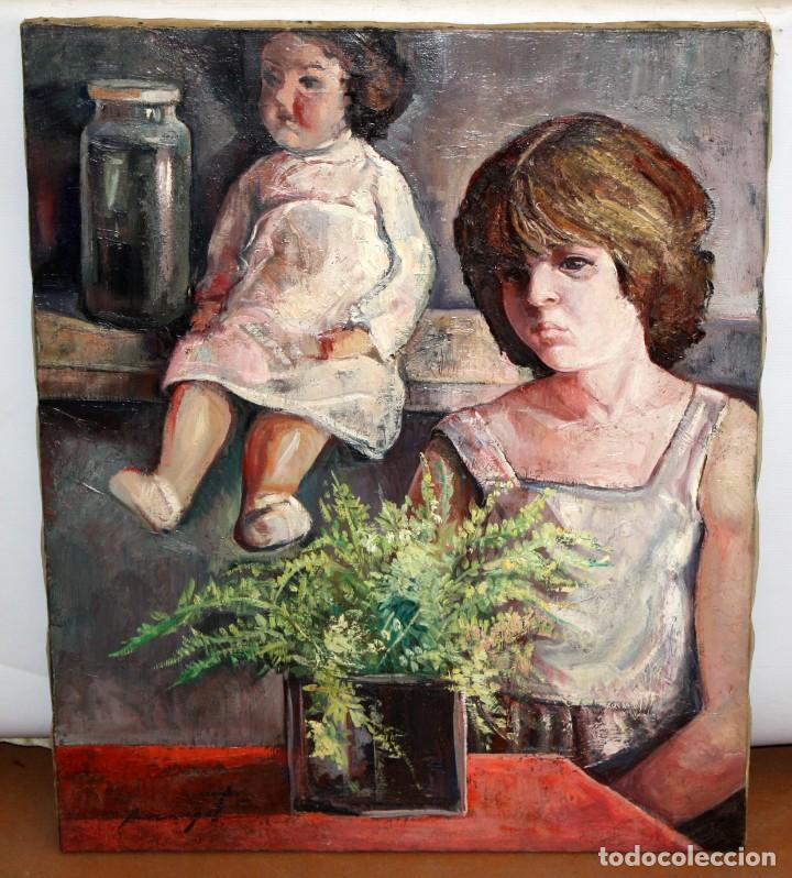 Arte: ANTONIO POVEDANO MARRUGAT (Córdoba, 1955) OLEO SOBRE TELA. INTERIOR CON FIGURA Y MUÑECA - Foto 2 - 120913043