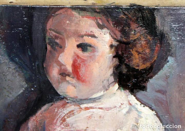 Arte: ANTONIO POVEDANO MARRUGAT (Córdoba, 1955) OLEO SOBRE TELA. INTERIOR CON FIGURA Y MUÑECA - Foto 6 - 120913043