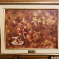 Arte: JOSE GARCIA TORRES (EL PINTOR DE LOS GALLOS) BODEGÓN AL OLEO SOBRE TABLA, ENMARCADO. 48X40CM. Lote 120921630