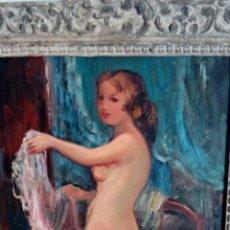 Arte - Desnudo, oleo de Pere Creixams 46x38 con espectacular marco viejo Paris - 142224682