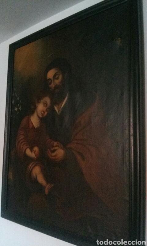 OLEO SOBRE LIENZO CON SAN JOSE CON EL NIÑO S. XVIII (Arte - Pintura - Pintura al Óleo Antigua siglo XVIII)