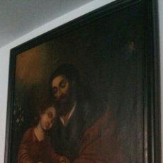 Arte: OLEO SOBRE LIENZO CON SAN JOSE CON EL NIÑO S. XVIII. Lote 58331332