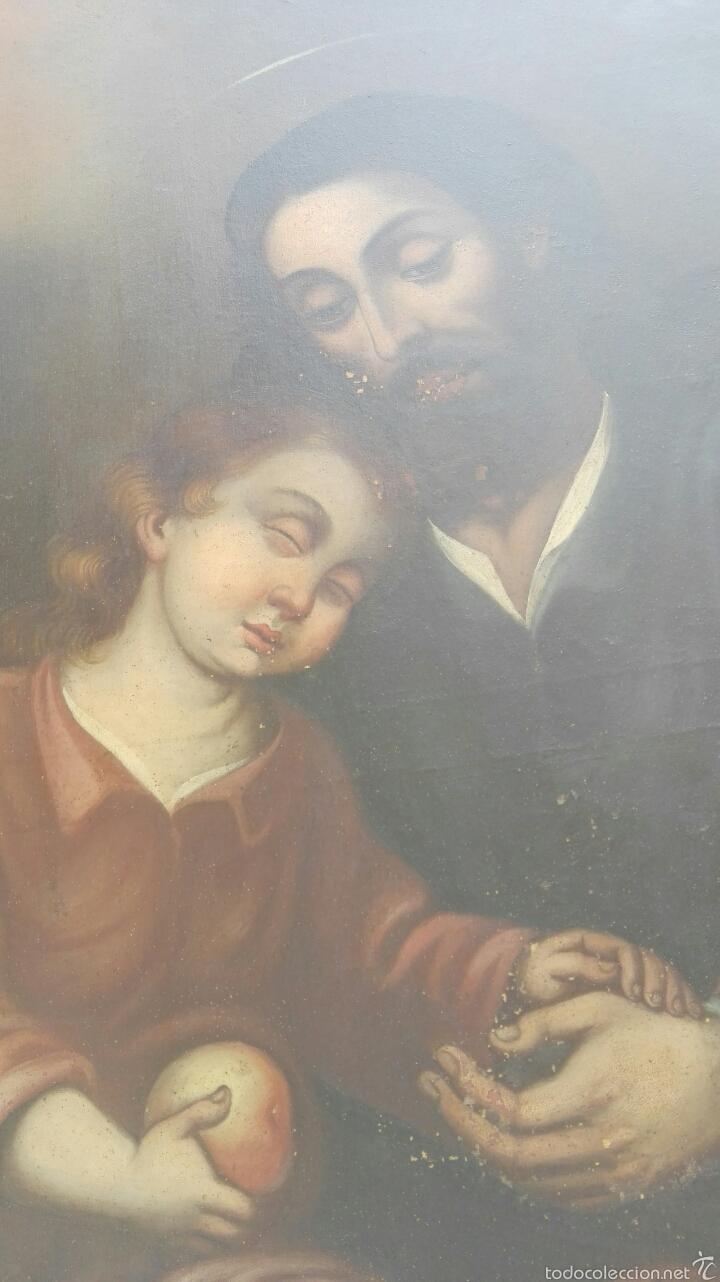 Arte: OLEO SOBRE LIENZO CON SAN JOSE CON EL NIÑO S. XVIII - Foto 4 - 58331332