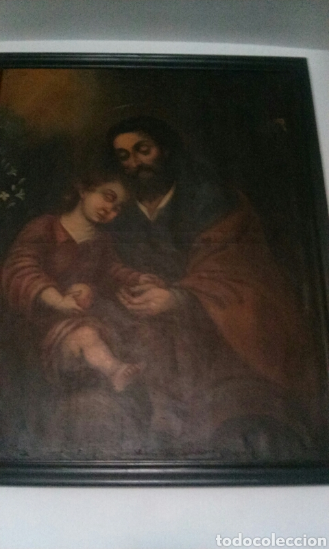 Arte: OLEO SOBRE LIENZO CON SAN JOSE CON EL NIÑO S. XVIII - Foto 2 - 58331332