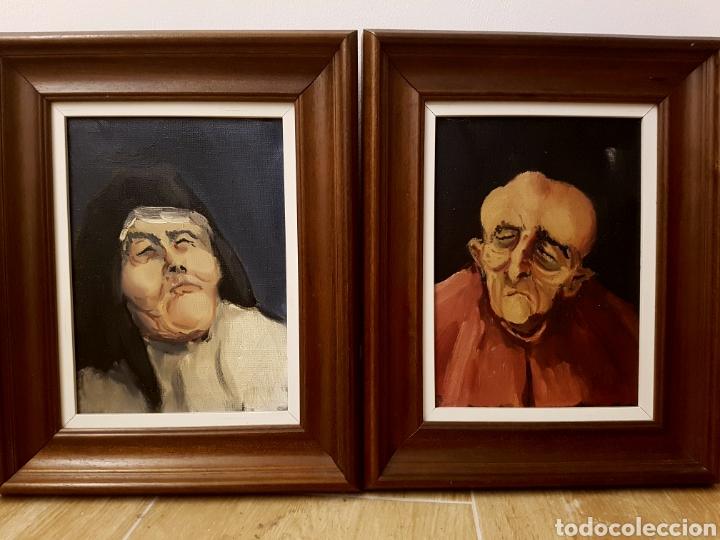 PAREJA DE OLEOS, SANTA TERESA Y CARDENAL,FIRMADOS PAL, MUY INTERESANTES,. 26X32CM (Arte - Pintura - Pintura al Óleo Contemporánea )