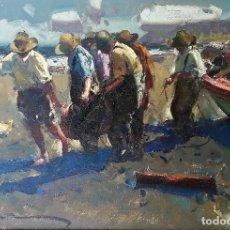 Arte: EUSTAQUIO SEGRELLES - EN LA FAENA, PLAYA DE LEVANTE - ÓLEO - AÑO 2000. Lote 121057155
