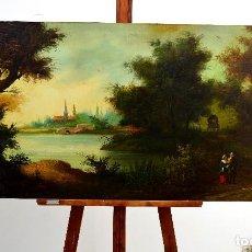 Arte: J. DAVIS - PAISAJE ROMÁNTICO - 1890. Lote 121108263