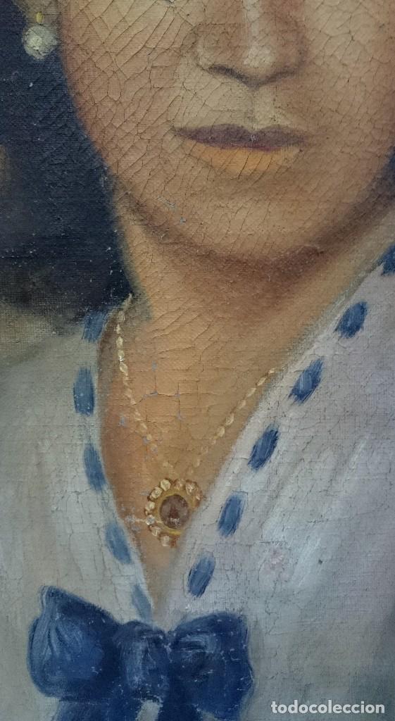 Arte: Antiguo retrato pintado al óleo sobre lienzo de una dama o señora del siglo XIX. Firmado: PB.55x46cm - Foto 3 - 121166027