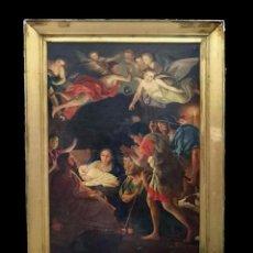 Arte: ÓLEO SOBRE LIENZO DE LA ADORACIÓN DE LOS PASTORES,NACIMIENTO.SIGLO XVII. 171X117 CM. LEER. Lote 121222419