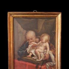 Arte: ANTIGUO ÓLEO SOBRE COBRE CON SAN JOAQUÍN Y EL NIÑO JESÚS.SIGLO XVII. MARCO ORIGINAL.DORADO. 31X25CM. Lote 121225895