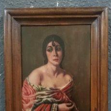 Arte: ANTIGUO RETRATO DE SEÑORA, DAMA, ÓLEO SOBRE TABLA DE NOGAL MACIZA. MARCO NOGAL. S.XIX.43X34 CM. RARO. Lote 121232443