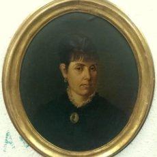 Arte: ANTIGUO ÓLEO SOBRE LIENZO, RETRATO MUJER. V. R. CORRODI DE 1883. MARCO DORADO AL ORO FINO, NOGAL.LEE. Lote 121233263