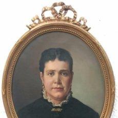 Arte: ANTIGUO RETRATO DE VICTORINO BALASANZ SANCHEZ FECHADO DE 1889.ÓLEO SOBRE LIENZO.RETRATO MUJER. ÚNICO. Lote 121233999