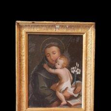 Arte: ANTIGUO ÓLEO SOBRE CRISTAL DE SAN ANTONIO DE PADUA.PRINCIPIOS DEL SIGLO XVIII. ÚNICO. PERFECTO.31X25. Lote 121234175
