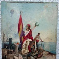 Arte: ANTIGUA ÓLEO SOBRE TABLA, ALEGORÍA DE LA REPÚBLICA ESPAÑOLA. AGOSTO DE 1892. J.BAYO. Lote 121237267