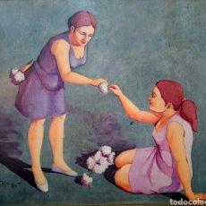 Arte: NUÑO RUIZ, PINTOR DE MÁLAGA, GRAN PINTURA ORIGINAL EN PAPEL PEGADO A TABLA, FIRMADO.. Lote 121270868