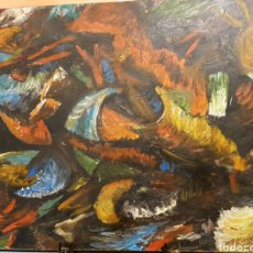 Arte: PINTURA AL OLEO SOBRE TABLA, ABSTRACTA, FIRMADA MENGUAL 72X56CM MARTINEZ MENGUAL?. Lote 121295460