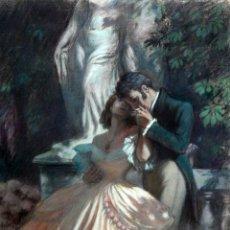 Arte: JOSE SIMONT GULLEN (BARCELONA,1875 - CARACAS, 1968) DIBUJO A PASTEL. ESCENA ROMANTICA.. Lote 25550403