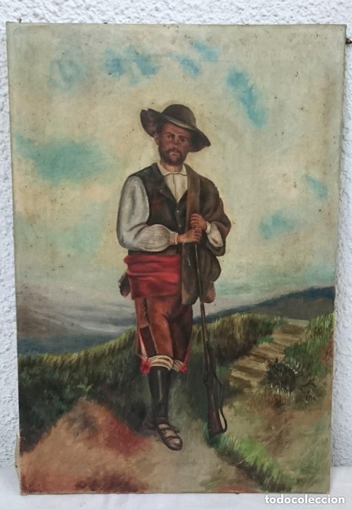 ANTIGUO ÓLEO SOBRE LIENZO, RETRATO DE CAZADOR, BATURRO. SIGLO XIX. 55X34 CM (Arte - Pintura - Pintura al Óleo Moderna siglo XIX)