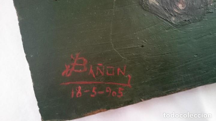 Arte: Antiguo óleo sobre tabla de un caballo. Firmada por J.Bañón de 18-05-1905. Alta calidad. 24x20 cm. - Foto 2 - 121346755