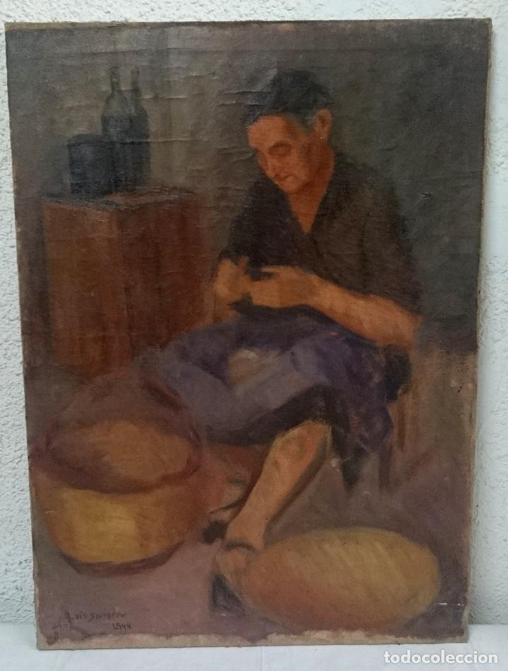 ANTIGUO ÓLEO SOBRE LIENZO DE UNA MUJER PESCADORA ARREGLANDO LAS REDES. LUIS SAINERO, 1944.90X65CM (Arte - Pintura - Pintura al Óleo Moderna siglo XIX)