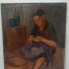 Arte: ANTIGUO ÓLEO SOBRE LIENZO DE UNA MUJER PESCADORA ARREGLANDO LAS REDES. LUIS SAINERO, 1944.90X65CM. Lote 121351055