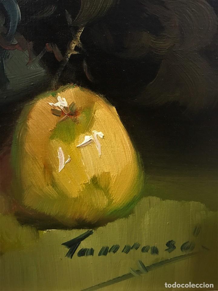 Arte: bodegon con uvas y plato de talavera, firmado tarraso - Foto 13 - 121454499