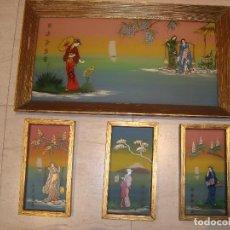 Arte: 4 CUADROS PINTADOS A MANO EN ÓLEO SOBRE CRISTAL , ARTE ORIENTAL . VINTAGE. Lote 121516955