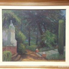 Arte: FIDEL TELLO REPISO, (ARACENA, HUELVA 1925). JARDÍN INTERIOR. ÓLEO SOBRE LIENZO. HACIA 1973.. Lote 121563955