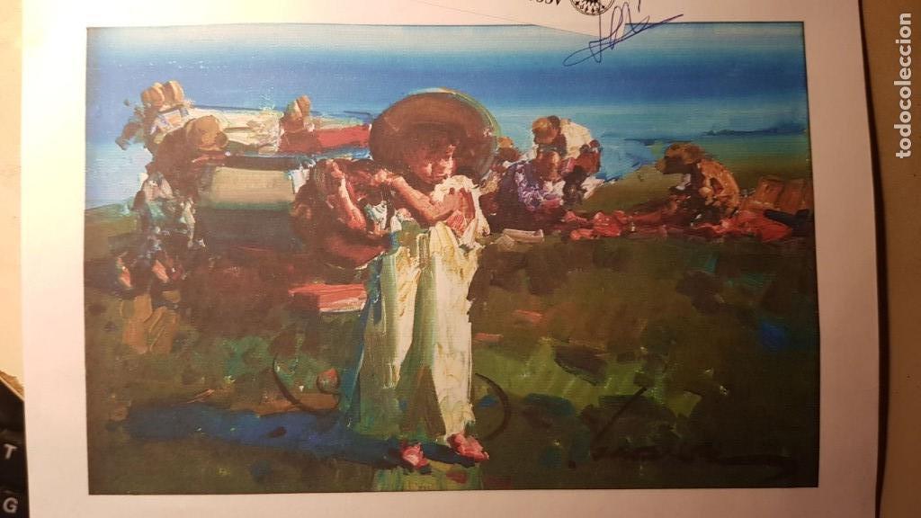 Arte: EUSTAQUIO SEGRELLES. CERTIFICADO. LIENZO 41X27. LIBRO DEDICADO. NIÑO CON SOMBRERO.. - Foto 4 - 89824412
