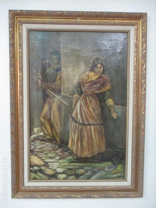 ANTIGUA PINTURA AL ÓLEO - FIGURAS - CON MARCO - FIRMA FEYDER - BONITA MARCO DORADO (Arte - Pintura - Pintura al Óleo Moderna sin fecha definida)