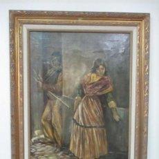 Arte: ANTIGUA PINTURA AL ÓLEO - FIGURAS - CON MARCO - FIRMA FEYDER - BONITA MARCO DORADO. Lote 121578435