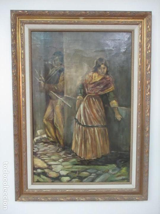 Arte: Antigua Pintura al Óleo - Figuras - con Marco - Firma Feyder - Bonita Marco Dorado - Foto 2 - 121578435