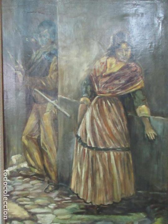 Arte: Antigua Pintura al Óleo - Figuras - con Marco - Firma Feyder - Bonita Marco Dorado - Foto 3 - 121578435