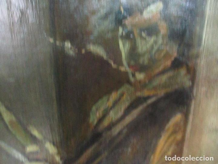 Arte: Antigua Pintura al Óleo - Figuras - con Marco - Firma Feyder - Bonita Marco Dorado - Foto 5 - 121578435