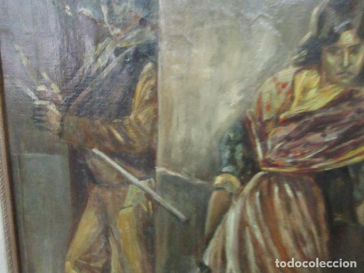 Arte: Antigua Pintura al Óleo - Figuras - con Marco - Firma Feyder - Bonita Marco Dorado - Foto 6 - 121578435
