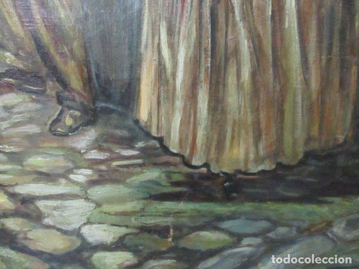 Arte: Antigua Pintura al Óleo - Figuras - con Marco - Firma Feyder - Bonita Marco Dorado - Foto 7 - 121578435