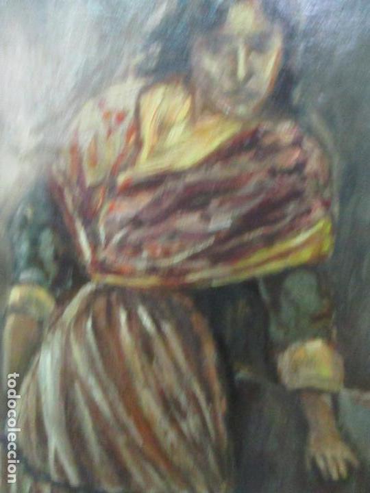 Arte: Antigua Pintura al Óleo - Figuras - con Marco - Firma Feyder - Bonita Marco Dorado - Foto 8 - 121578435