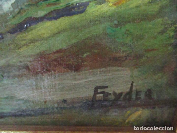 Arte: Antigua Pintura al Óleo - Figuras - con Marco - Firma Feyder - Bonita Marco Dorado - Foto 9 - 121578435