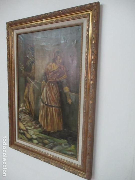 Arte: Antigua Pintura al Óleo - Figuras - con Marco - Firma Feyder - Bonita Marco Dorado - Foto 10 - 121578435