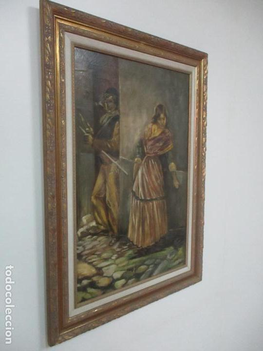 Arte: Antigua Pintura al Óleo - Figuras - con Marco - Firma Feyder - Bonita Marco Dorado - Foto 11 - 121578435
