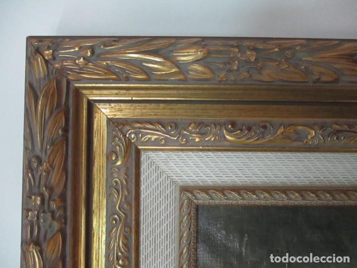 Arte: Antigua Pintura al Óleo - Figuras - con Marco - Firma Feyder - Bonita Marco Dorado - Foto 12 - 121578435