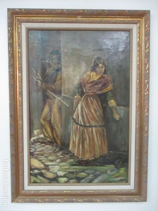 Arte: Antigua Pintura al Óleo - Figuras - con Marco - Firma Feyder - Bonita Marco Dorado - Foto 16 - 121578435